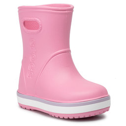 Crocs Гумові чоботи Crocs Crocband Rain Boot K 205827 Pink Lemonade/Lavender