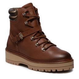 Tommy Hilfiger Aulinukai Tommy Hilfiger Polished Leather Flat Boot FW0FW06042 Winter Cognac GVI
