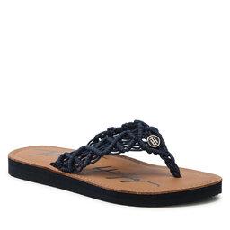 Tommy Hilfiger Šlepetės per pirštą Tommy Hilfiger Faded Leather Footbed Sandal FW0FW05808 Desert Sky DW5