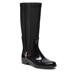 Tommy Hilfiger Guminiai batai Tommy Hilfiger Corporate Zipper Long Rainboot FW0FW05964 Black BDS