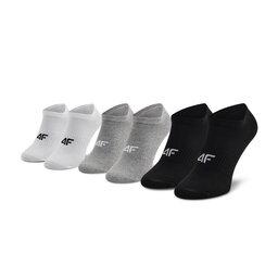 4F Набір 3 пар низьких чоловічих шкарпеток 4F H4L21-SOM006 Szary Melanż/Biały/Głęboka Czerń