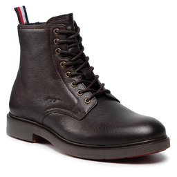 Tommy Hilfiger Ilgaauliai Tommy Hilfiger Elevated Rounded Lth Mid Boot FM0FM03788 Cocoa GT6