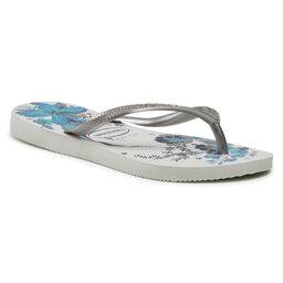 Havaianas Šlepetės per pirštą Havaianas Slim Organic Fc 41328235676 White/Bright Silver