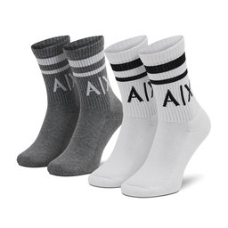 Armani Exchange Набір з 2 пар високих шкарпеток unisex Armani Exchange 953030 CC650 19310 Bianco/Grigio Melang