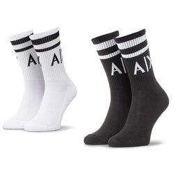 Armani Exchange Набір з 2 пар високих шкарпеток unisex Armani Exchange 953030 CC650 00121 Nero/Bianco