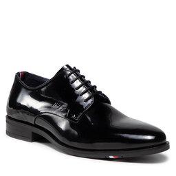 Tommy Hilfiger Pusbačiai Tommy Hilfiger Rwb Hilfiger Patent Leather Shoe FM0FM03921 Black BDS
