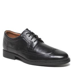 Clarks Pusbačiai Clarks Whiddon Wing 261580097 Black Leather