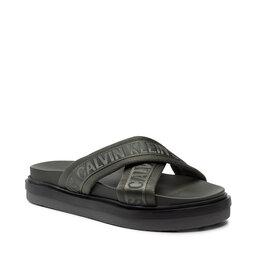 Calvin Klein Jeans Шльопанці Calvin Klein Jeans Flat Sandal Crisscross Pes YM0YM00069 Dark Olive LEX