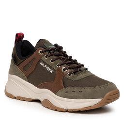Tommy Hilfiger Laisvalaikio batai Tommy Hilfiger Outdoor Sneaker Mix Runner FN0FM03274 Army Green RBN