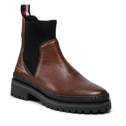 Tommy Hilfiger Štibletai Tommy Hilfiger Th Outdoor Knit Flat Boot FW0FW06001 Winter Cognac GVI