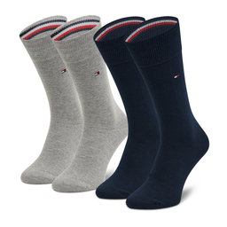 Tommy Hilfiger Vyriškų ilgų kojinių komplektas (2 poros) Tommy Hilfiger 371111 Light Grey Melange 100