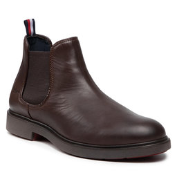 Tommy Hilfiger Štibletai Tommy Hilfiger Elevated Rounded Lth Chelsea FM0FM03805 Cocoa GT6