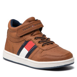 Tommy Hilfiger Laisvalaikio batai Tommy Hilfiger Higt Top Lace-Up/Velcro Sneaker T1B4-32049-0900 S Tobacco 520