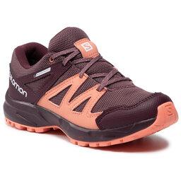 Salomon Трекінгові черевики Salomon Huapi Cswp J 412321 10 M0 Flint/Winetasting/Burnt Coral