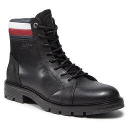 Tommy Hilfiger Ilgaauliai Tommy Hilfiger Elevated Rwb Collar Lth Boot FM0FM03825 Black BDS