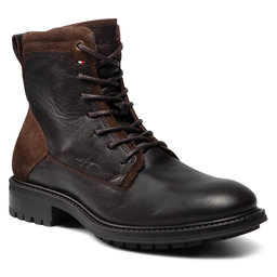 Tommy Hilfiger Ilgaauliai Tommy Hilfiger Creative Leather Mix Zip Boot FM0FM03926GT6 Cocoa GT6