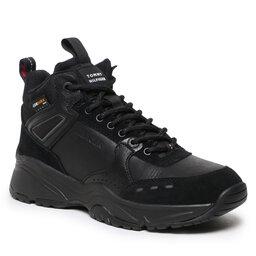 Tommy Hilfiger Laisvalaikio batai Tommy Hilfiger High Sneaker Boot Leather FM0FM03273 Black BDS
