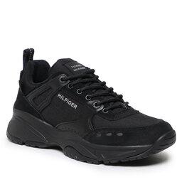 Tommy Hilfiger Laisvalaikio batai Tommy Hilfiger Outdoor Sneaker Mix Runner FM0FM03274 Black BDS