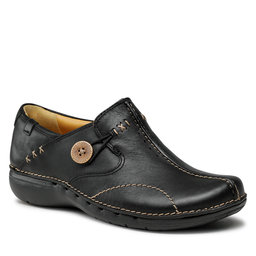 Clarks Pusbačiai Clarks Un Loop 203128374 Black Leather